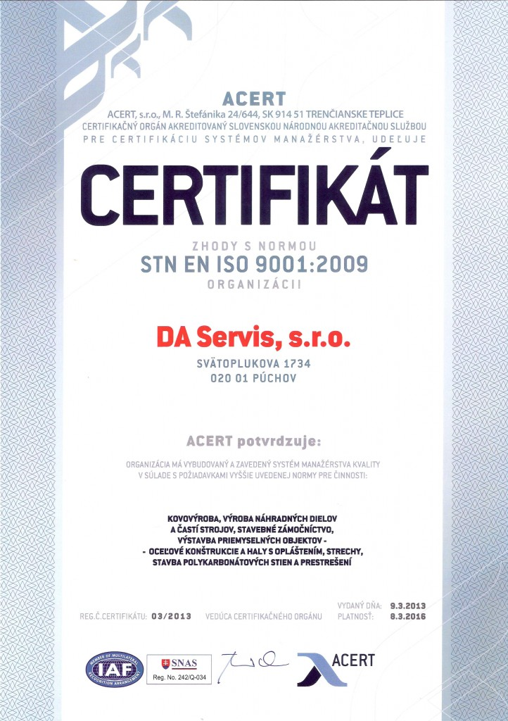 Certifikat kvality DA Servis